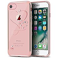 iPhone 7 Plus Case,Double-Lin Mini Love Heart Glitter Bling Crystal Rhinestone Diamonds Clear Rubber Plating Frame TP...