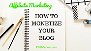 Affiliate Marketing:  How to Monetize Your Blog - PBS Market