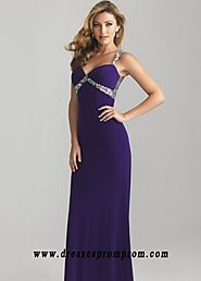 Purple Long Glittering Straps Beaded Cutout Back Perfect Prom Dr