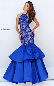 Beaded Patterned Royal Halter Neckline Satin Long Tiered Evening Gown 2016