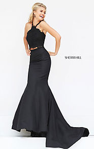 Sherri Hill 50419 Beaded Two Piece Lace Appliques 2017 Halter Neckline Black Long Satin Mermaid Dresses