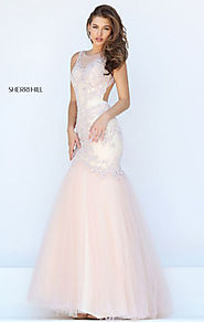 Beaded Patterned 2016 Blush Boat Neckline Open Back Long Chiffon Evening Dresses