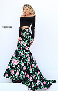 Sherri Hill 50423 Off The Shoulder Floral Printed Long Sleeves Two Piece Black/Pink Long Mermaid Dresses 2017