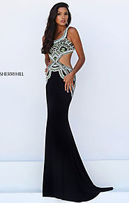 Beaded Embellishments Scoop Neckline Black/Green 2016 Sherri Hill 50297 Cutout Long Prom Dresses