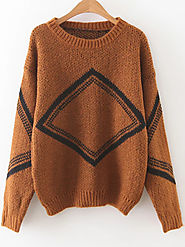 Khaki Diamond Pattern Drop Shoulder Sweater