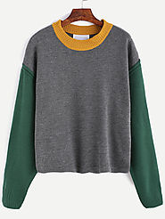 Contrast Dropped Shoulder Seam Sweater
