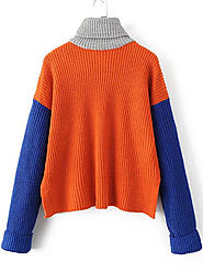 Orange Color Block Turtleneck Side Slit Sweater