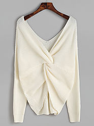 White Double V Neck Knot Sweater