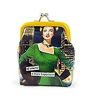Anne Taintor Vinyl Kiss Lock Change Coin Purse - Of Course It Buys Happiness