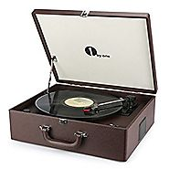 1byone Suit-case Style Turntable with Speaker, Bluetooth support and Vinyl-To-MP3 Recording, Belt Driven Record Playe...