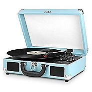Victrola Nostalgic 3-Speed Vintage Bluetooth Suitcase Turntable, Turquoise