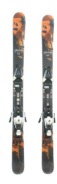 Used Salomon Suspect Jr Twin Tip Kids Snow Skis with Salomon L7 Binding A