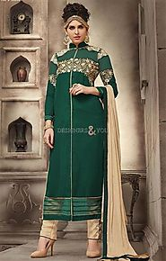 Embellished Straight Cut Aline Dress Pattern Pakistani Suit Online