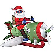 CHRISTMAS INFLATABLE ANIMATED AIRPLANE SANTA BY GEMMY