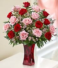 45386 Shades Of Pink And Red Premium Long Stem Roses