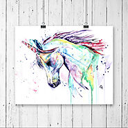 UNICORN PRINT, Unicorn art, Unicorn watercolour, little girls room, nursery art, princess decor, princess nursery, un...