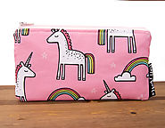 Unicorn Pencil Pouch - Zipper Pouch - Unicorn Gifts - Cute Pencil Case - Zip Pouch - Pink Makeup Pouch - Cosmetic Pou...