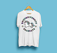 Unicorniversity, Unisex Unicorn T-Shirt, Cute Illustrated Graphic Tee - Birthday, Christmas, Gift, Funny, Graduation ...