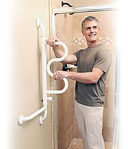The Curve Grab Bar - Pivoting Ladder Assist Handle and Wall-Mounted Bathroom Standing Mobility Aid