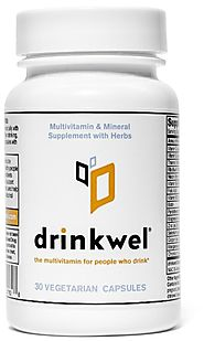 Drinkwel for Hangovers, Nutrient Replenishment & Liver Support (30 Vegetarian Capsules with Organic Milk Thistle, N-a...