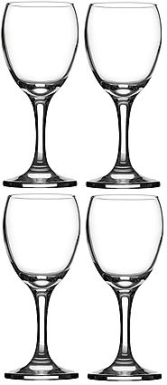 Circleware Red/white Wine Glasses Set on Glass Stem, 8 Ounce, Set of 4, Limited Edition Glassware
