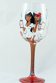 Pretty Brown Girl Wine Glasses With Hand-Painted Nurses- 15oz