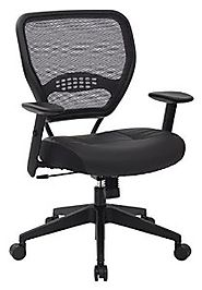 SPACE Seating Professional AirGrid Dark Back and Padded Black Eco Leather Seat, 2-to-1 Synchro Tilt Control, Adjustab...