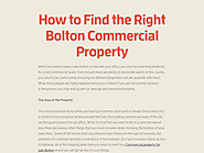 How to Find the Right Bolton Commercial Property