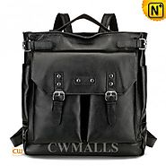 CWMALLS® Black Leather Convertible Backpack CW906075