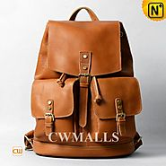 CWMALLS® Leather Travel Flap Backpack CW915793