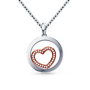 Encircled Heart Diamond Pendant for her in 14K Two Tone Gold