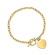 14K Yellow Gold Link Bracelet with Dangling Heart