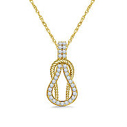 14K Yellow Gold Diamond Love Knot Pendant Necklace