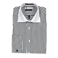 Buy slim fit black and white striped cotton blend french cuffs dress shirts from Labiyeur