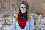 Crochet Plaid Triangle Cowl - Whistle and Ivy