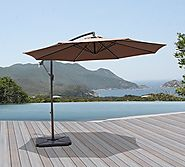 COBANA 10 Feet Cantilever Freestanding Patio Umbrella with Crank and Base