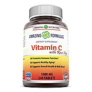 Amazing Nutrition Vitamin C with Rose Hips * 240 Tablets * 1000mg Vitamin C with 62.50 mg of Rosehip fruit extract * ...