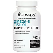 Bronson Omega 3 Fish Oil Triple Strength 2720 mg 1250 EPA 488 DHA Non GMO, Gluten Free, 180 Softgels