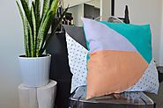 Scrap Fabric Geometric Pillow DIY - angean