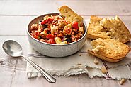 Sicilian Eggplant Stew with Herbed Pork and Garlicky Ciabatta