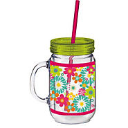 Cypress Home 20 oz. Floral Flower Double Walled Mason Jar Insulated Cup with Straw