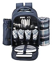 VonShef - 4 Person Blue Tartan Picnic Backpack With Cooler Compartment, Detachable Bottle/Wine Holder, Fleece Blanket...