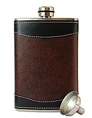 8oz Stainless Steel Primo 18/8 #304 Brown/Black PU Leather Premium/Heavy Duty Hip Flask Gift Set - Includes Funnel an...