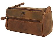 Leather Toiletry Bag Travel Compact Men Women Small gift for him her