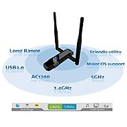 Alfa Long-Range Dual-Band AC1200 Wireless USB 3.0 Wi-Fi Adapter w/2x 5dBi External Antennas - 2.4GHz 300Mbps / 5Ghz 8...