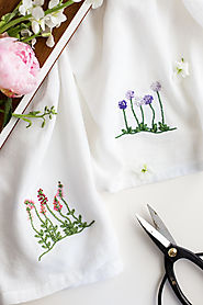 Floral Embroidery Patterns for Dishtowels - Flax & Twine