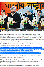 Jaiveer Shergill comment in Daily Mail UK on rationale behind Dr. Manmohan Singh launching the Punjab Manifesto