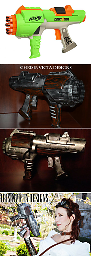 "Barrel gun wood and metal steampunk cosplay prop gun spray painted ""nerf"" gun"