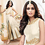 Comely Off White Front Buttons With Slit Silk Latest Fashion Suit