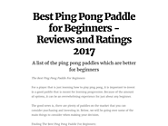 Best Ping Pong Paddle for Beginners - Reviews and Ratings 2017